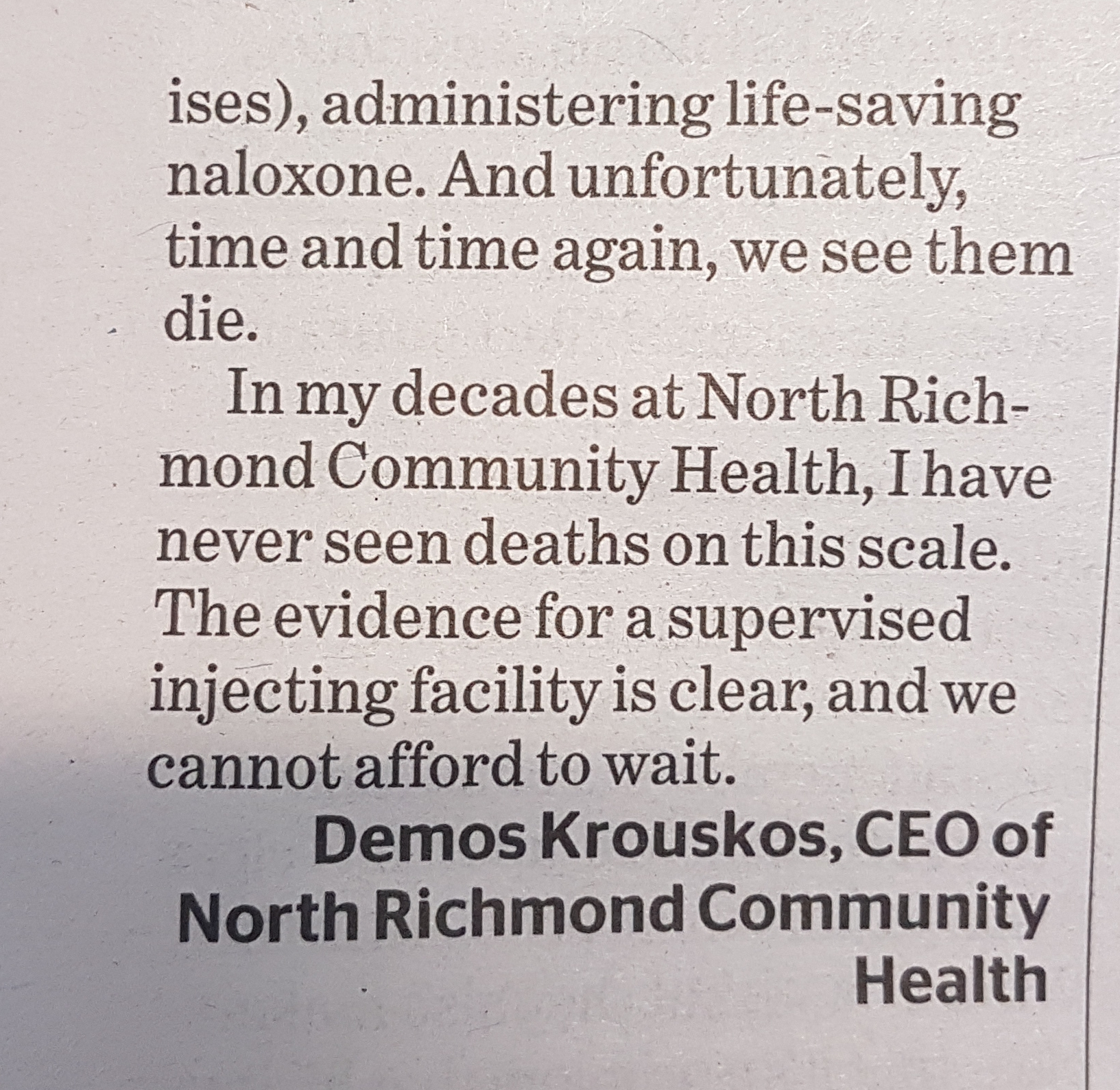 Letter to The Age: We need a supervised injecting facility, now