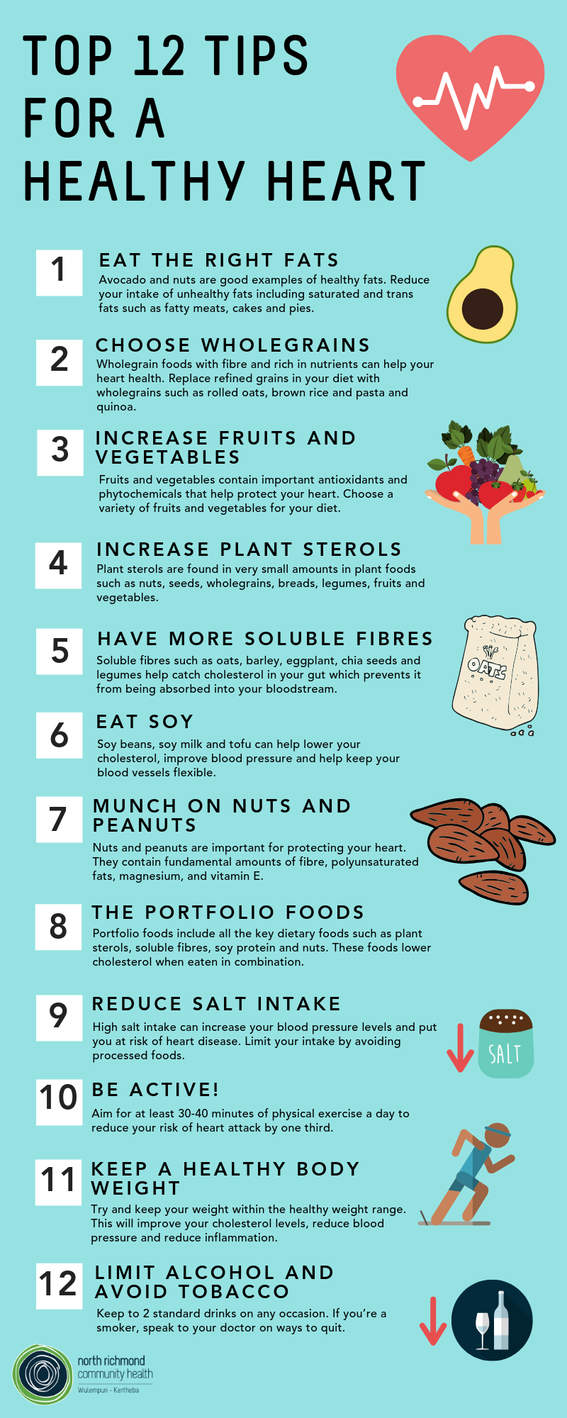 Top 12 Tips for a healthy heart