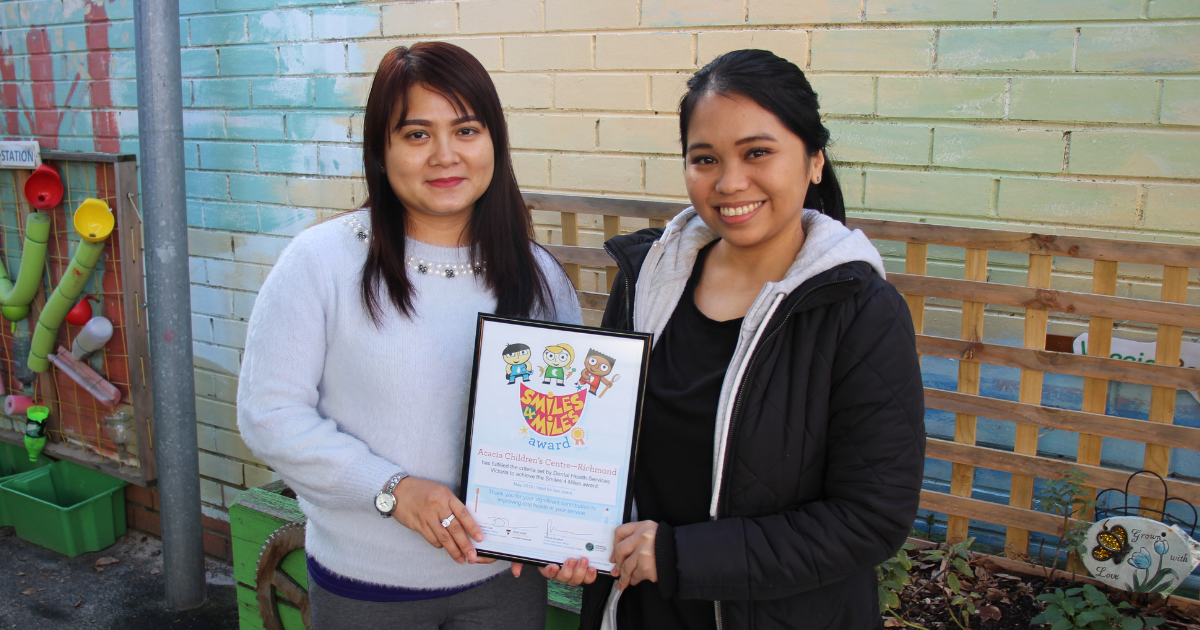Acacia Children's Centre in Richmond awarded for improving the oral health of City of Yarra children