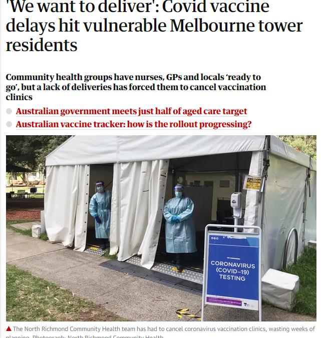In the news: Covid vaccine delays hit vulnerable Melbourne tower residents