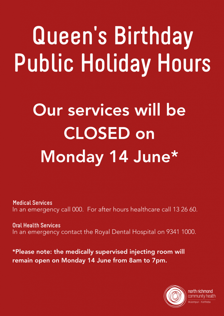 North Richmond Community Health closed for Queen's Birthday